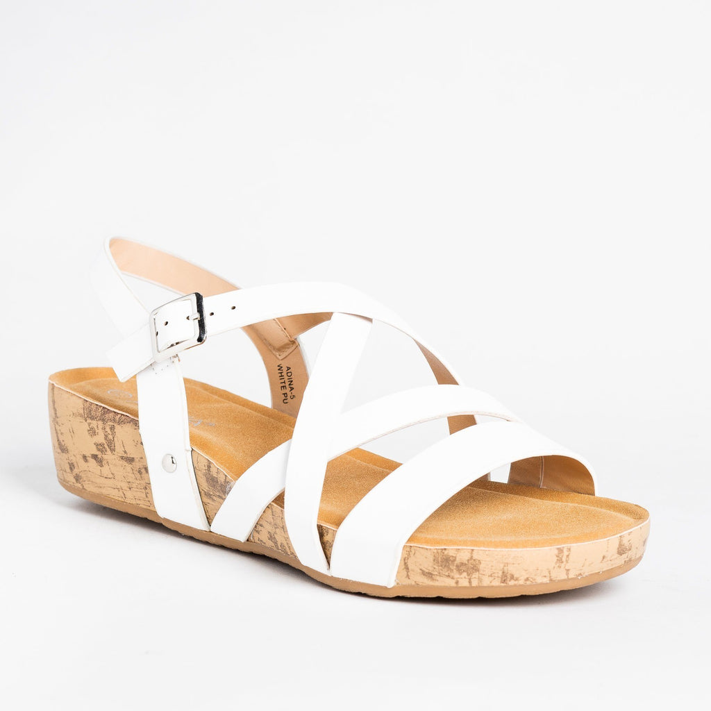 Womens Criss Cross Cork Sandal Wedges - Bella Marie - White / 5