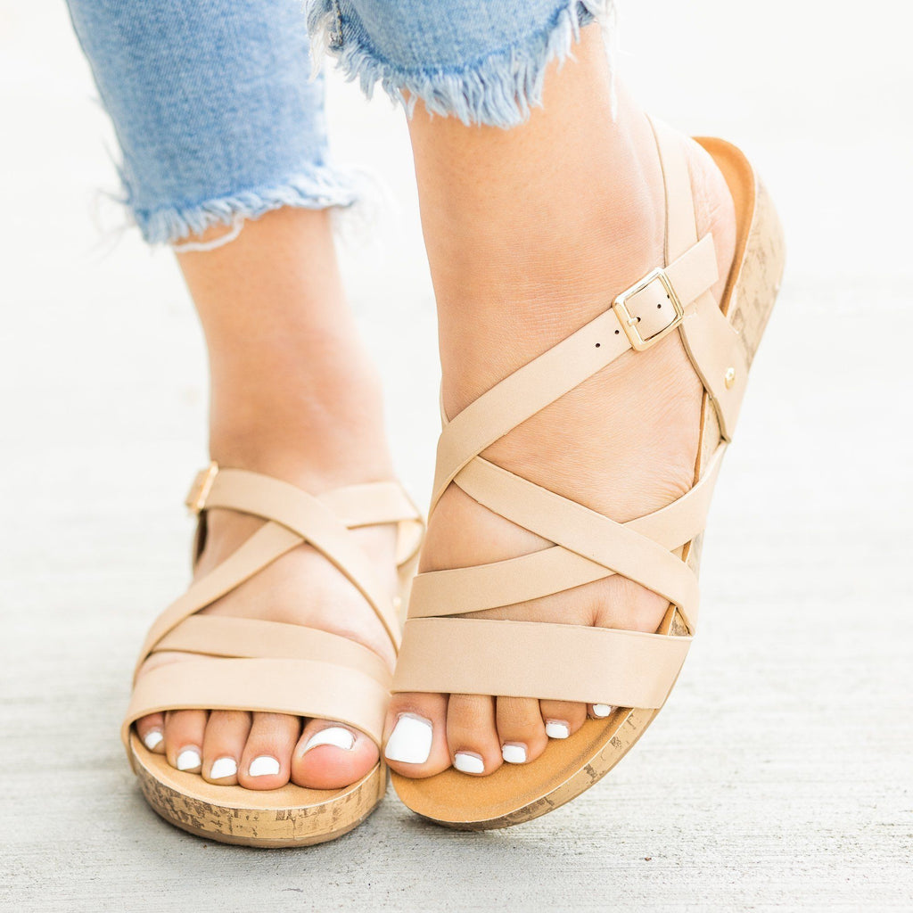 Womens Criss Cross Cork Sandal Wedges - Bella Marie