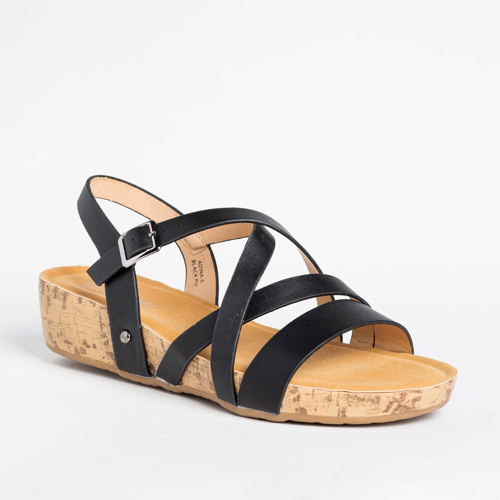 Womens Criss Cross Cork Sandal Wedges - Bella Marie - Black / 5