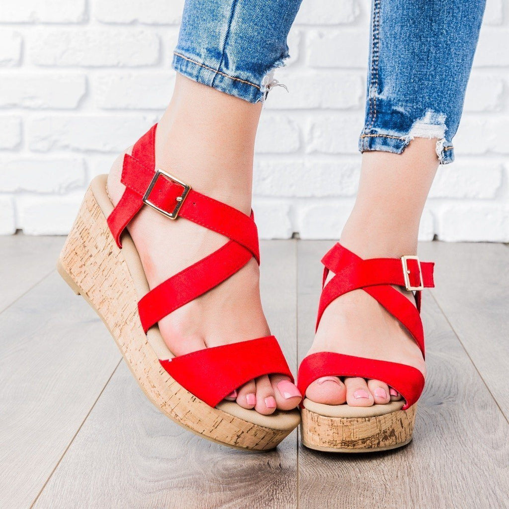 Womens Criss Cross Cork Wedges - DbDk Fashion - Red / 7