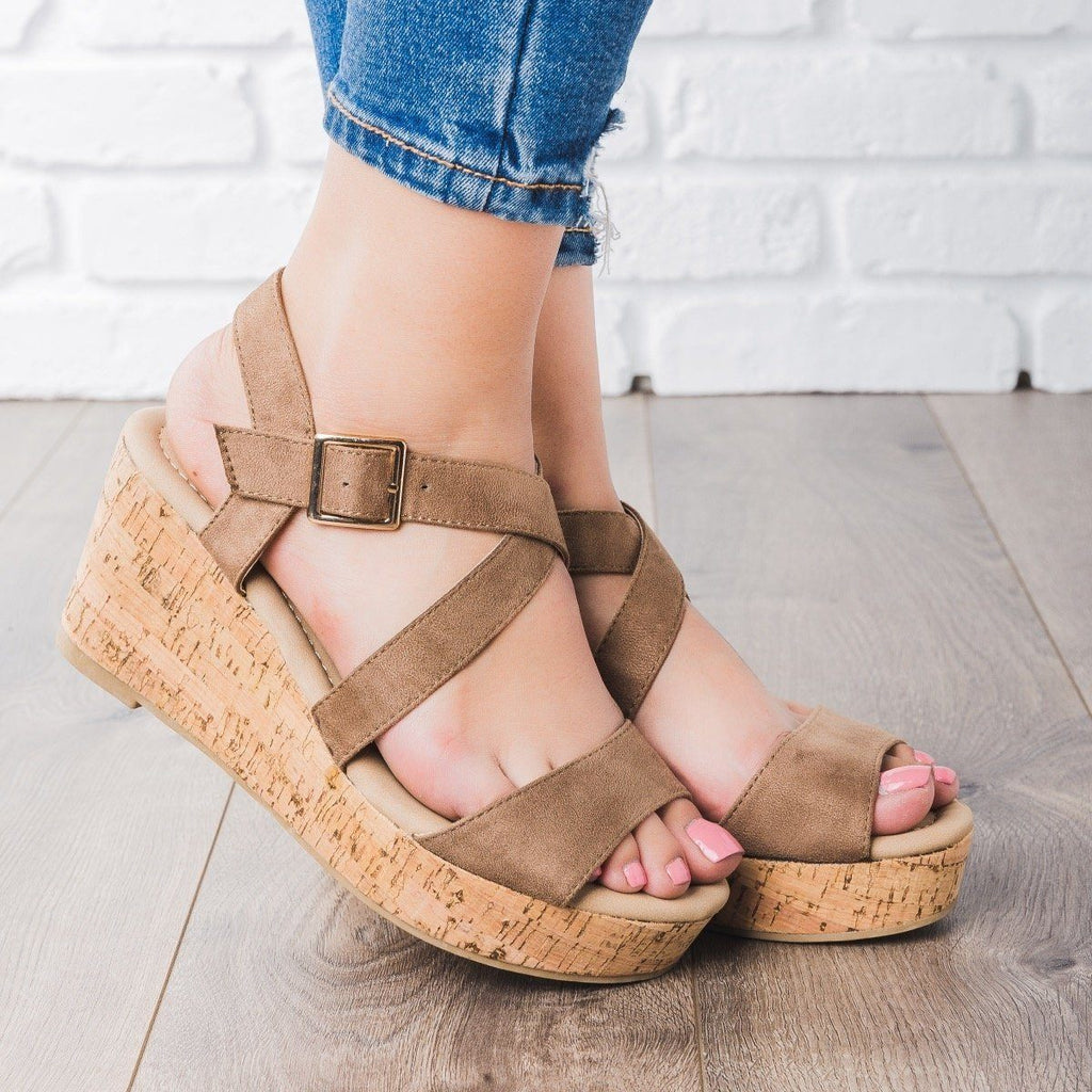 Womens Criss Cross Cork Wedges - DbDk Fashion