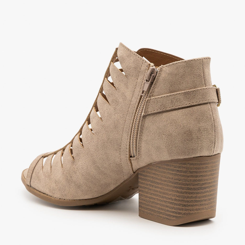 Womens Criss Cross Cut-Out Booties - Qupid Shoes
