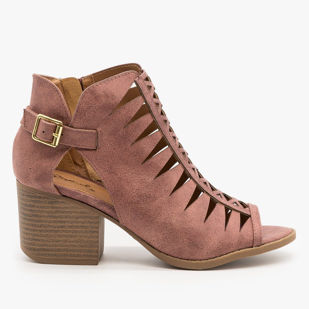 Womens Criss Cross Cut-Out Booties - Qupid Shoes - Rose Taupe / 5