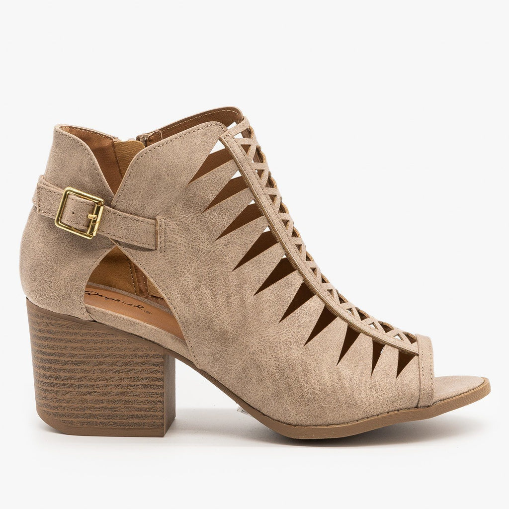 Womens Criss Cross Cut-Out Booties - Qupid Shoes - Taupe / 5