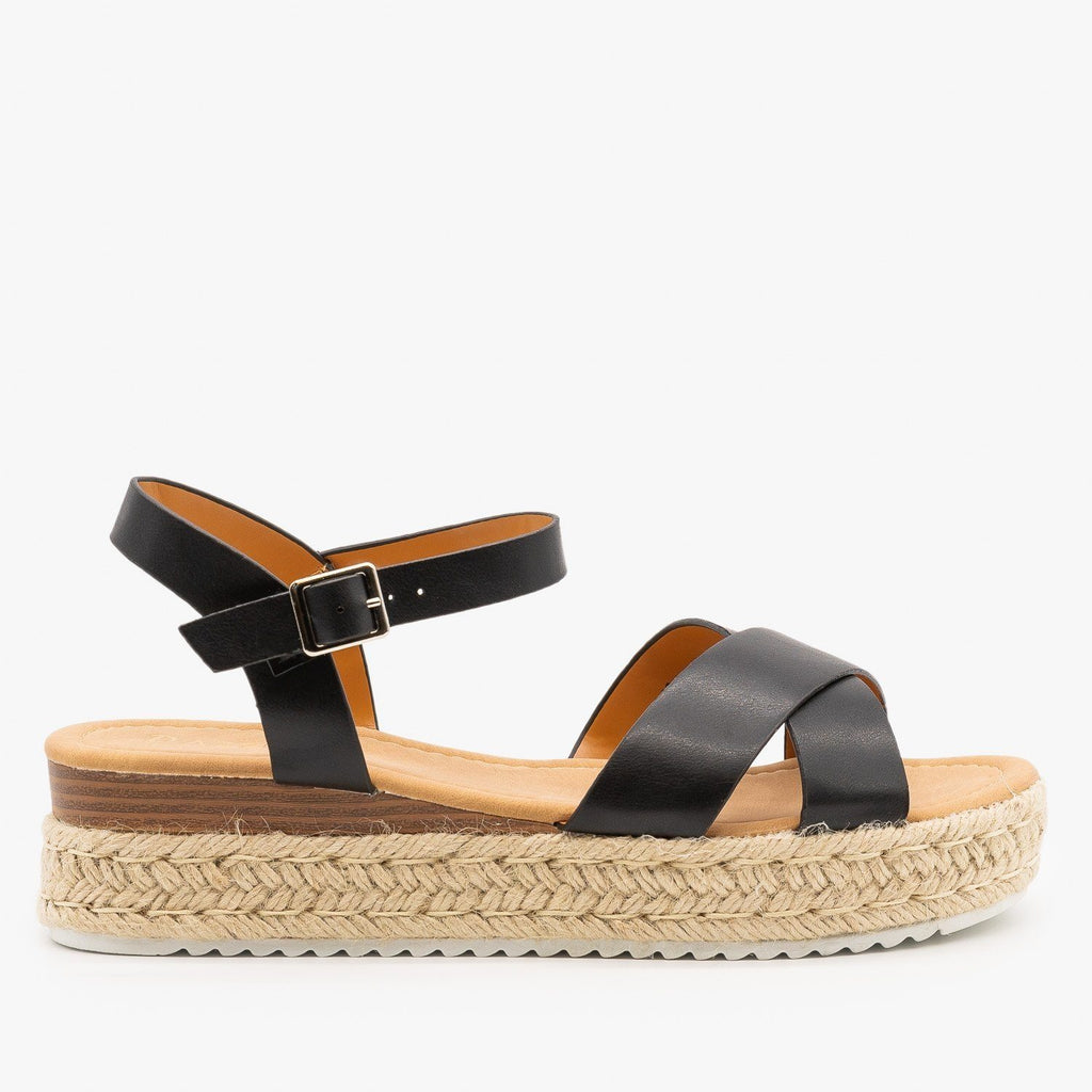 Womens Criss Cross Espadrille Flatform Sandals - Pazzle - Black / 5