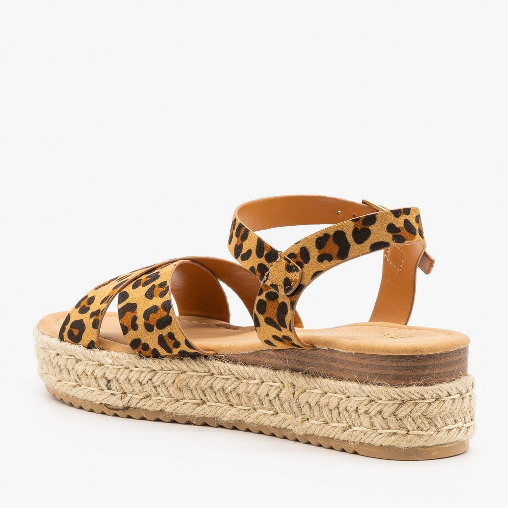 Womens Criss Cross Espadrille Flatform Sandals - Pazzle