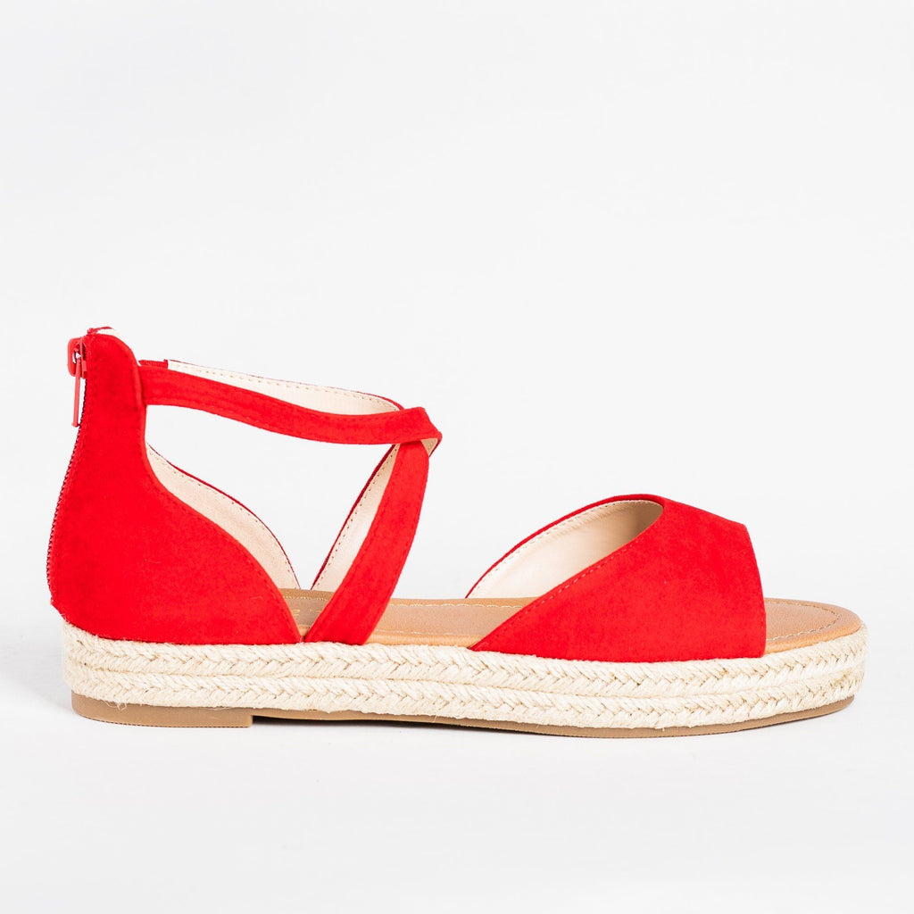 Womens Criss Cross Espadrille Flats - Bonnibel - Red / 5