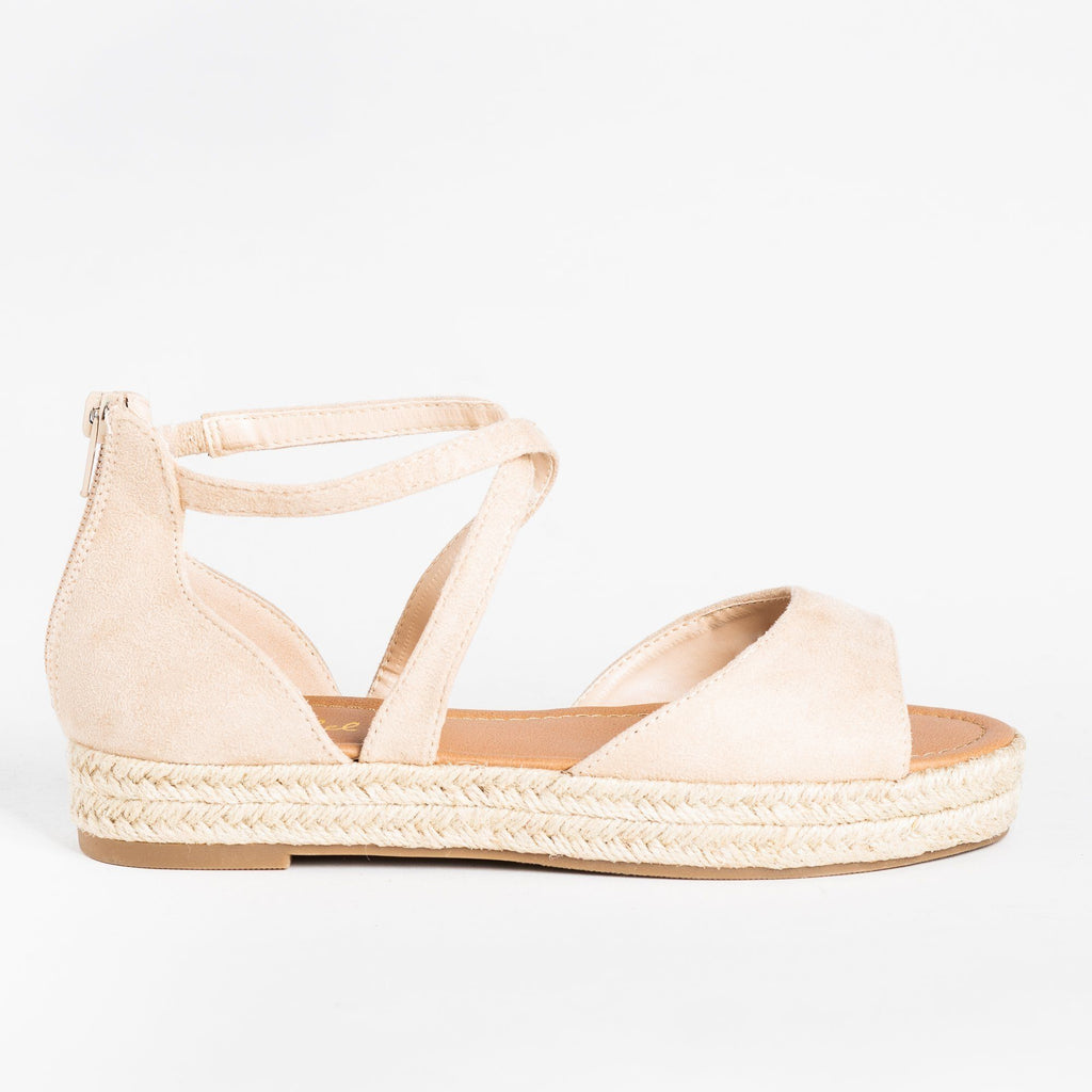 Womens Criss Cross Espadrille Flats - Bonnibel - Natural / 5