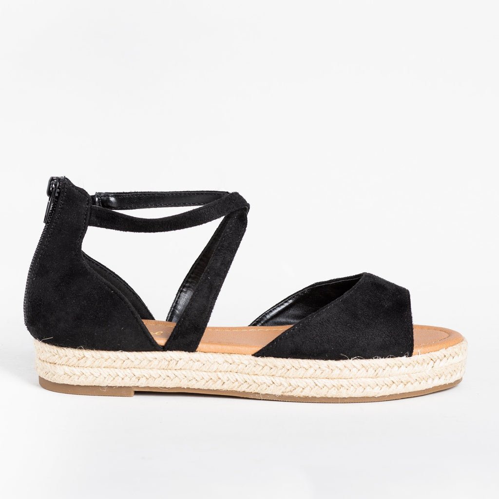 Womens Criss Cross Espadrille Flats - Bonnibel - Black / 5