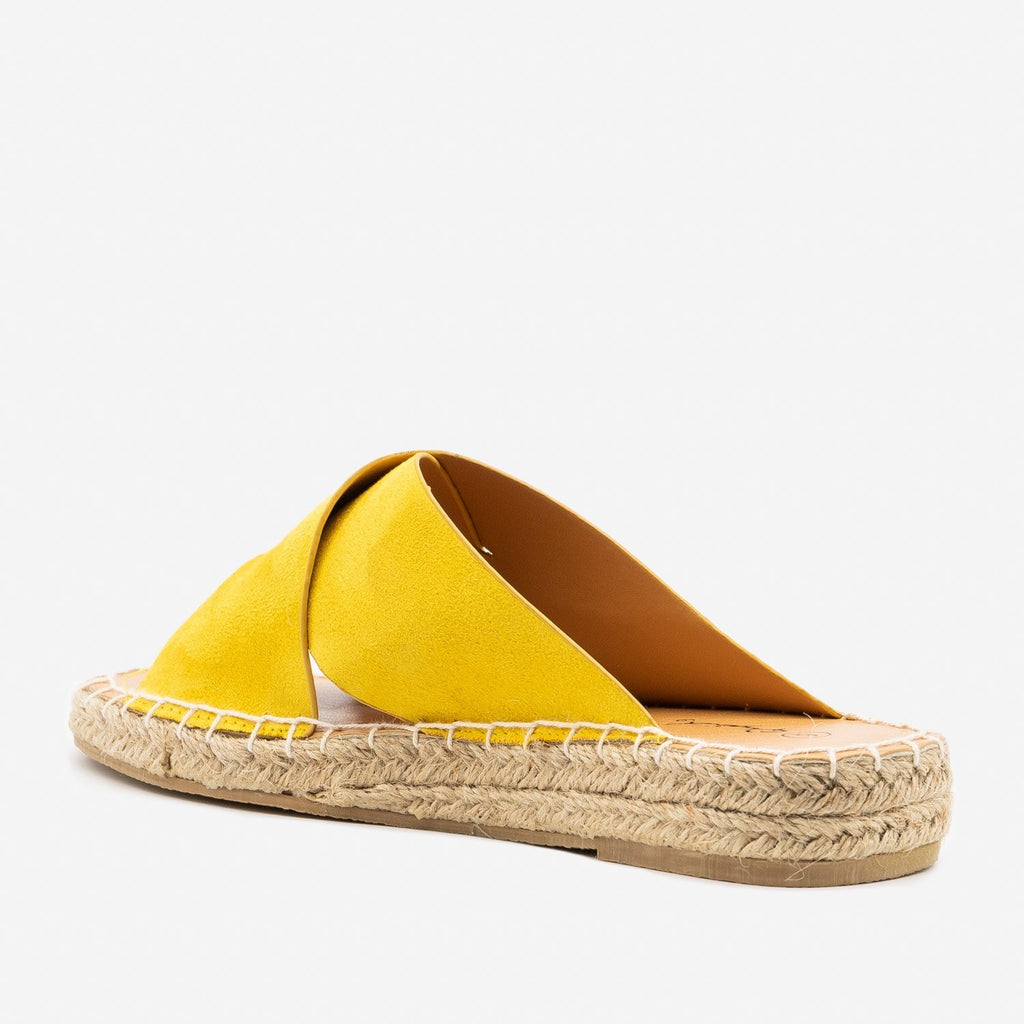 Women's Criss Cross Espadrille Slip-On Sandals - Qupid Shoes