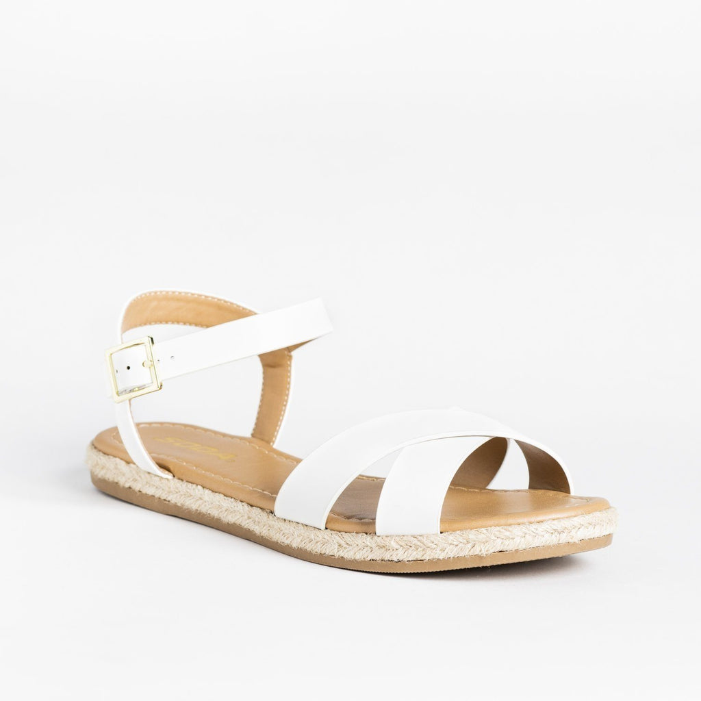 Womens Criss Cross Espadrille-Trimmed Sandals - Soda Shoes - White / 5