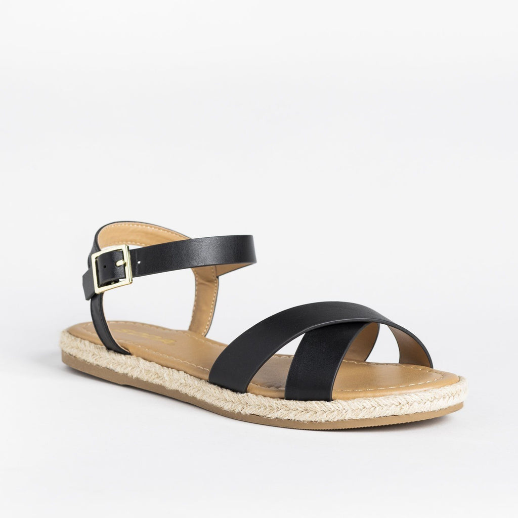Womens Criss Cross Espadrille-Trimmed Sandals - Soda Shoes - Black / 5