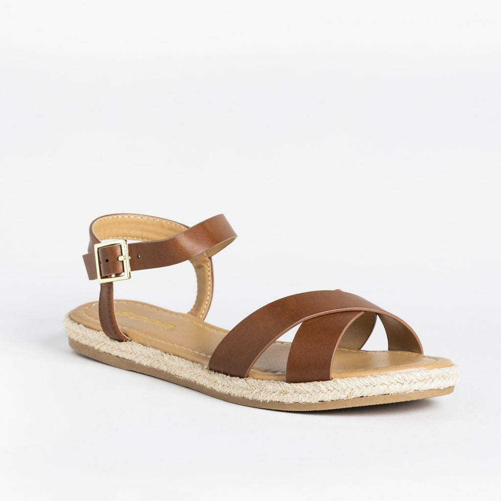 Womens Criss Cross Espadrille-Trimmed Sandals - Soda Shoes - Tan / 5