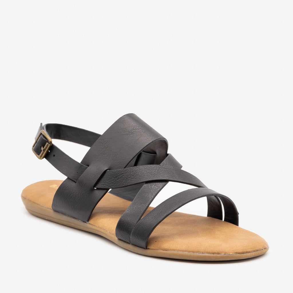 Women's Criss Cross Slingback Sandals - Bamboo Shoes