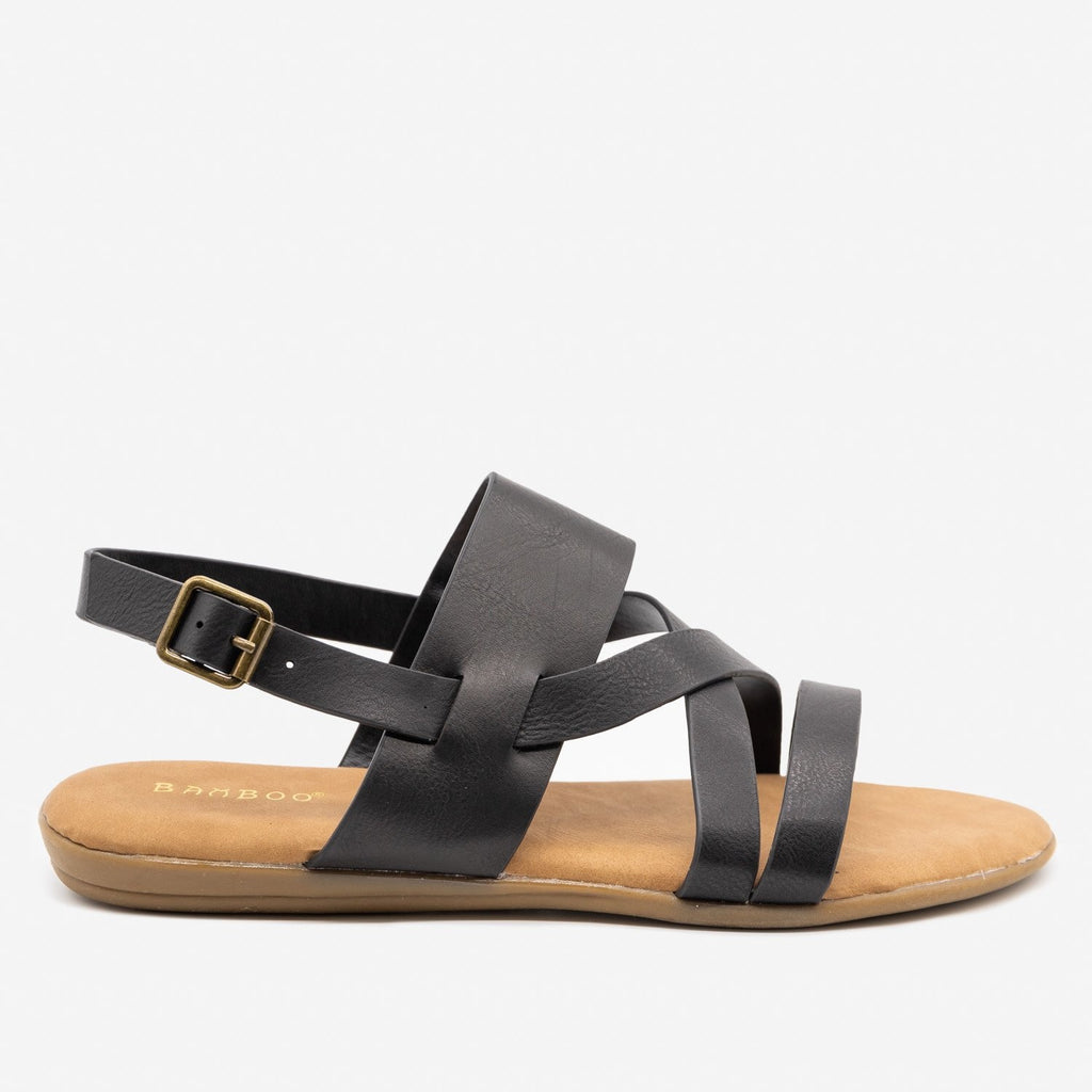 Women's Criss Cross Slingback Sandals - Bamboo Shoes - Black / 5