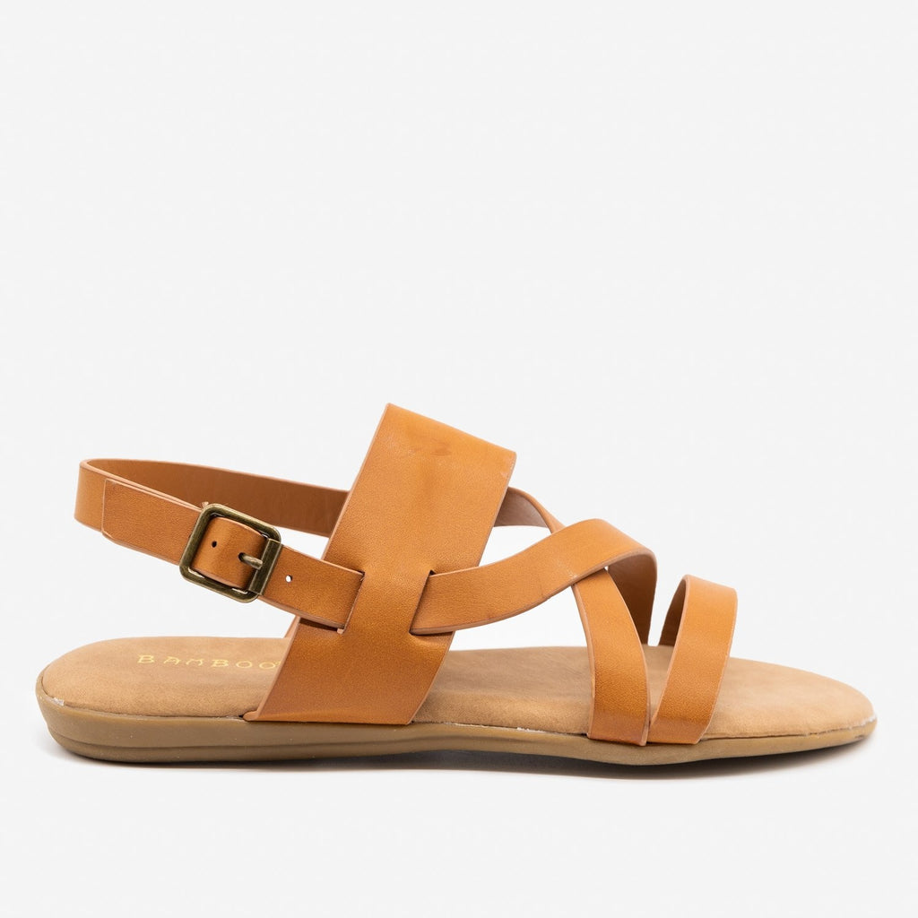 Women's Criss Cross Slingback Sandals - Bamboo Shoes - Tan / 5