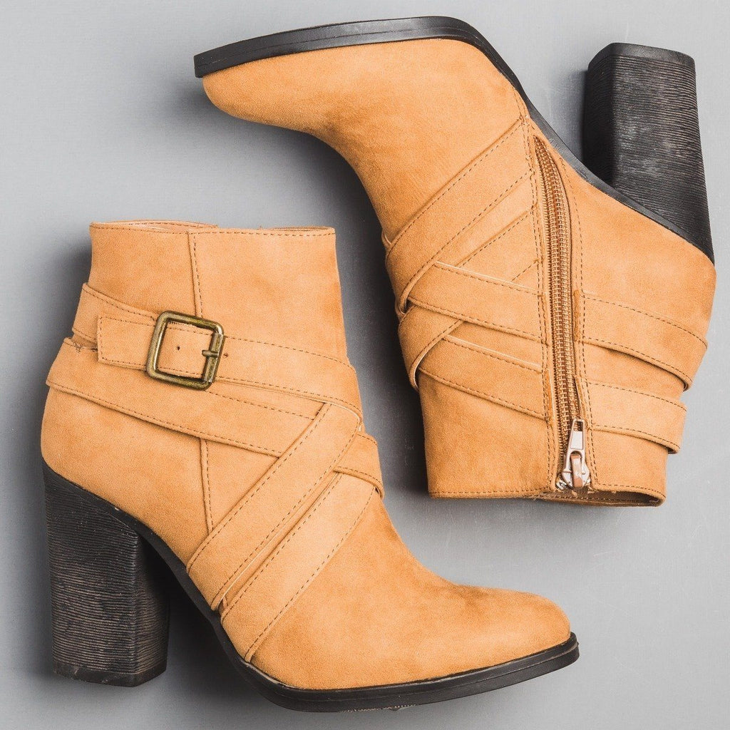 Womens Criss Cross Strap Ankle Bootie - Bamboo Shoes