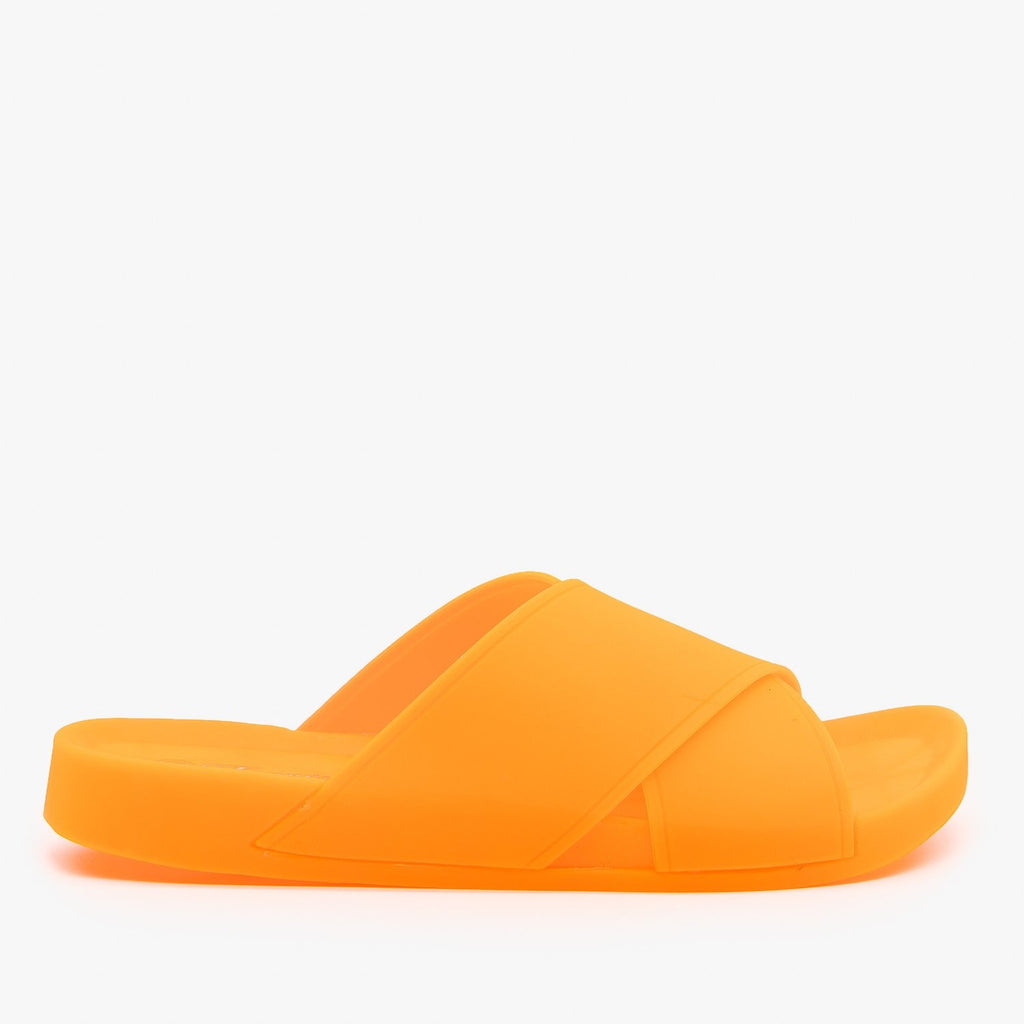 Womens Criss Cross Strap Neon Jelly Slides - Forever - Orange / 5
