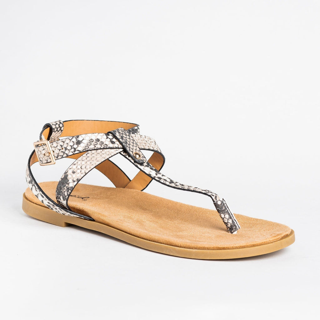 Womens Criss Cross Strap Thong Sandals - Qupid Shoes - Snake / 5