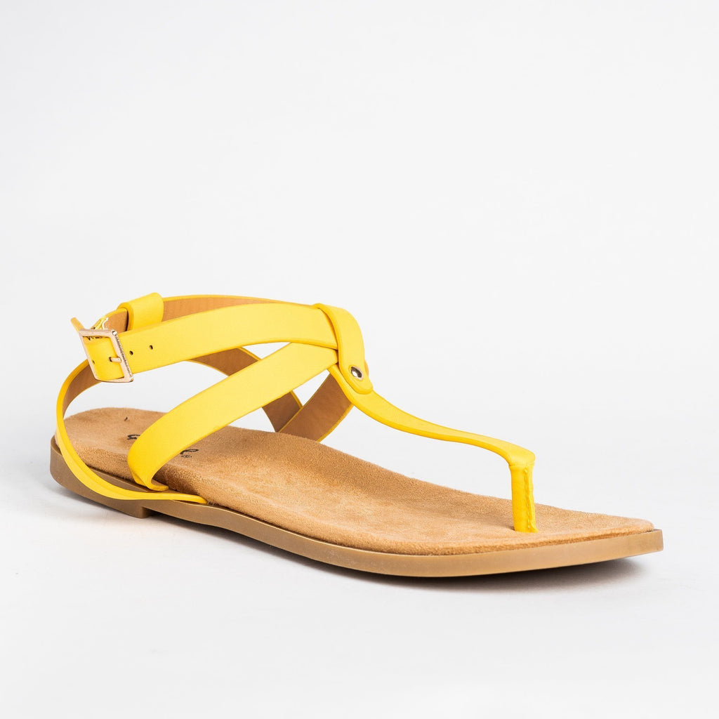Womens Criss Cross Strap Thong Sandals - Qupid Shoes - Yellow / 5