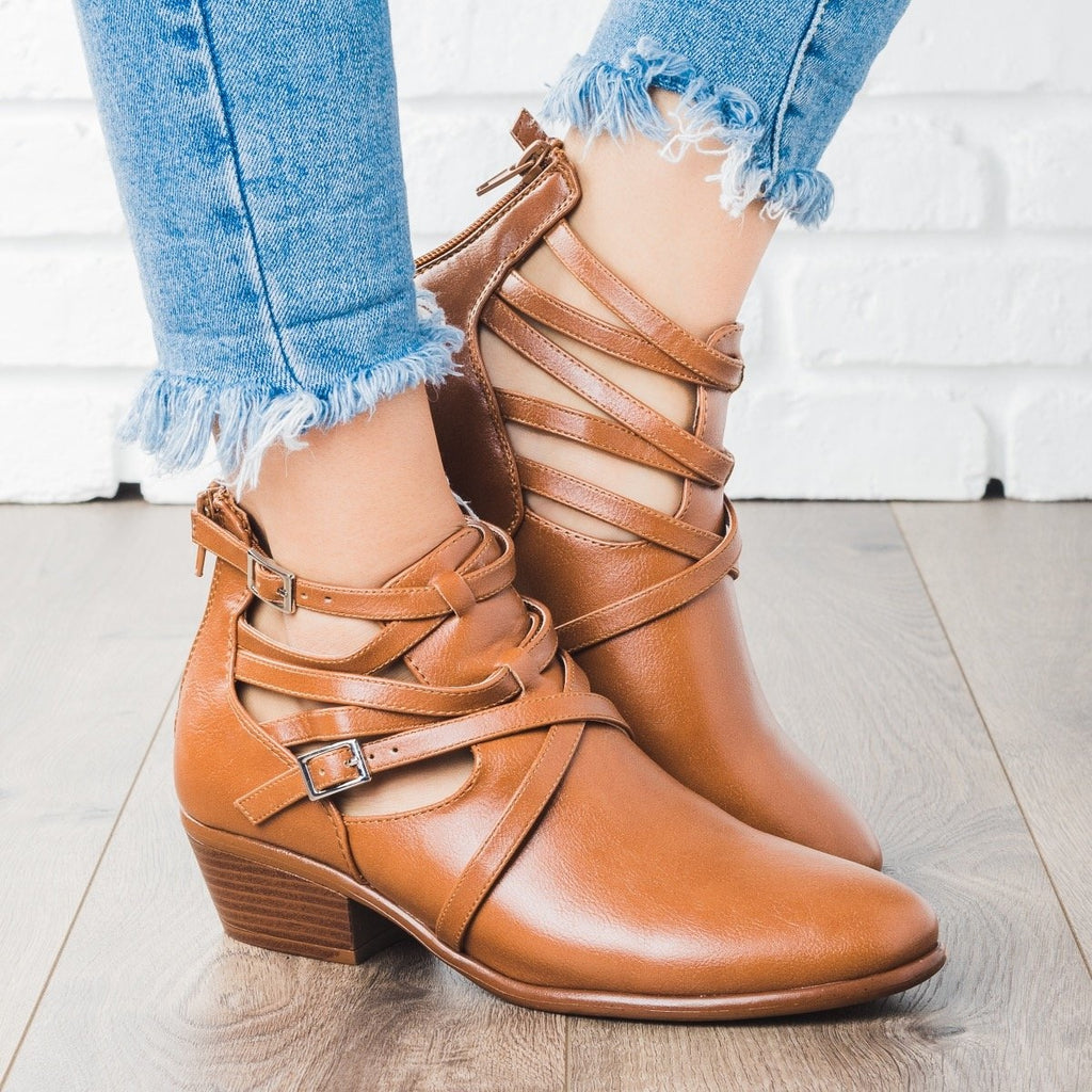 Womens Criss Cross Strappy Fashion Booties - Wild Diva Shoes