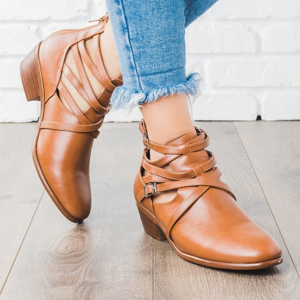 Womens Criss Cross Strappy Fashion Booties - Wild Diva Shoes - Whisky / 5