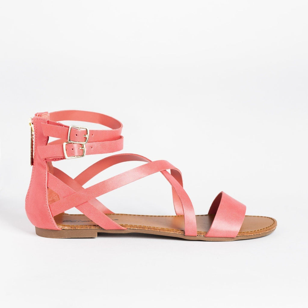 Womens Criss Cross Strappy Gladiator Sandals - Breckelles - Grapefruit / 5