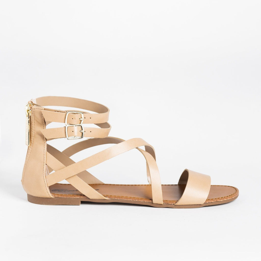 Womens Criss Cross Strappy Gladiator Sandals - Breckelles - Natural / 5