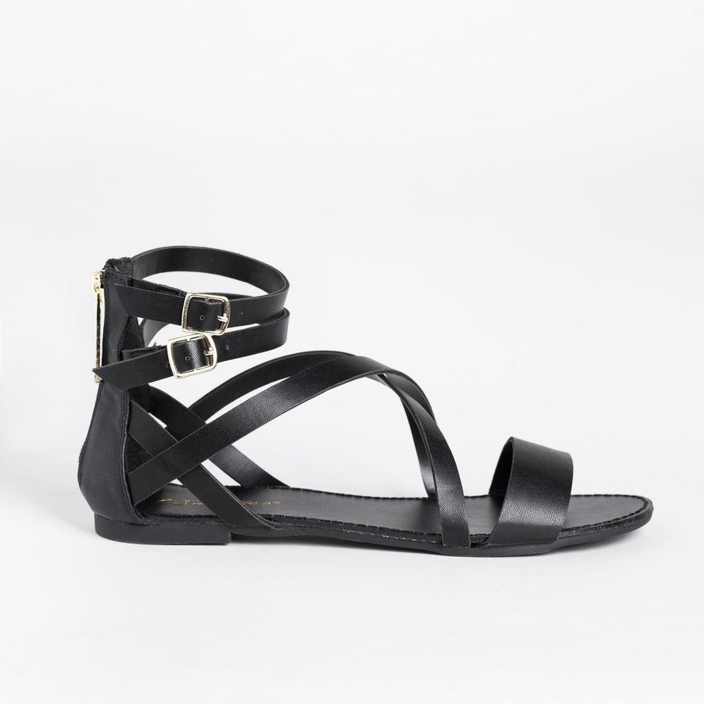 Womens Criss Cross Strappy Gladiator Sandals - Breckelles - Black / 5