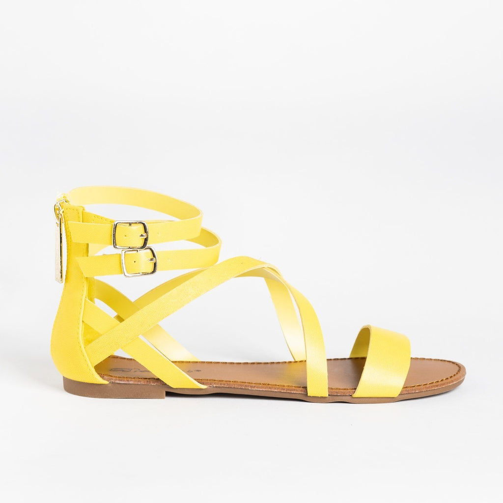 Womens Criss Cross Strappy Gladiator Sandals - Breckelles - Yellow / 5