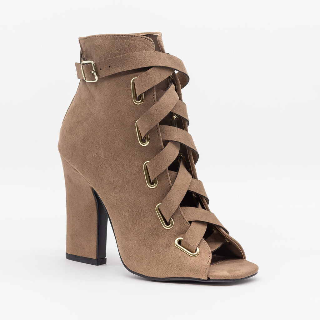 Womens Criss Cross Strappy Heels - Qupid Shoes - Taupe / 5