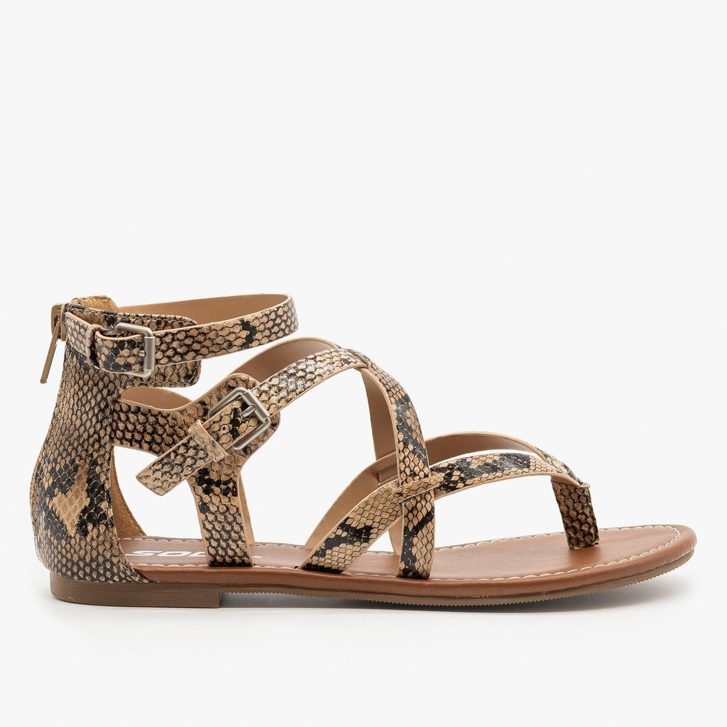 Womens Criss-Cross Strappy Sandals - Soda Shoes - Natural Python / 5