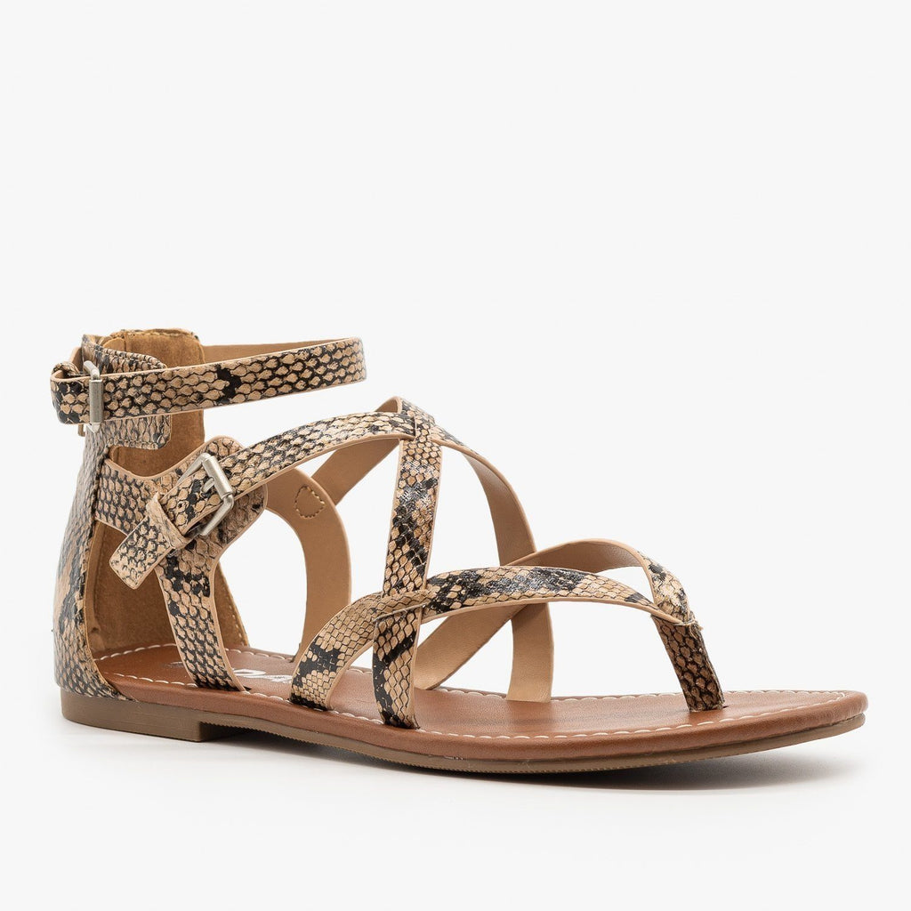 Womens Criss-Cross Strappy Sandals - Soda Shoes