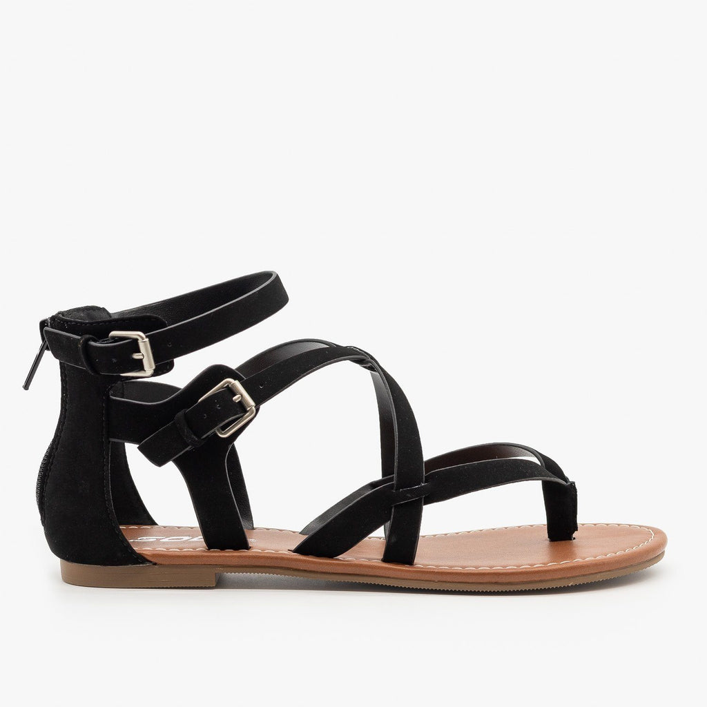 Womens Criss-Cross Strappy Sandals - Soda Shoes - Black / 5