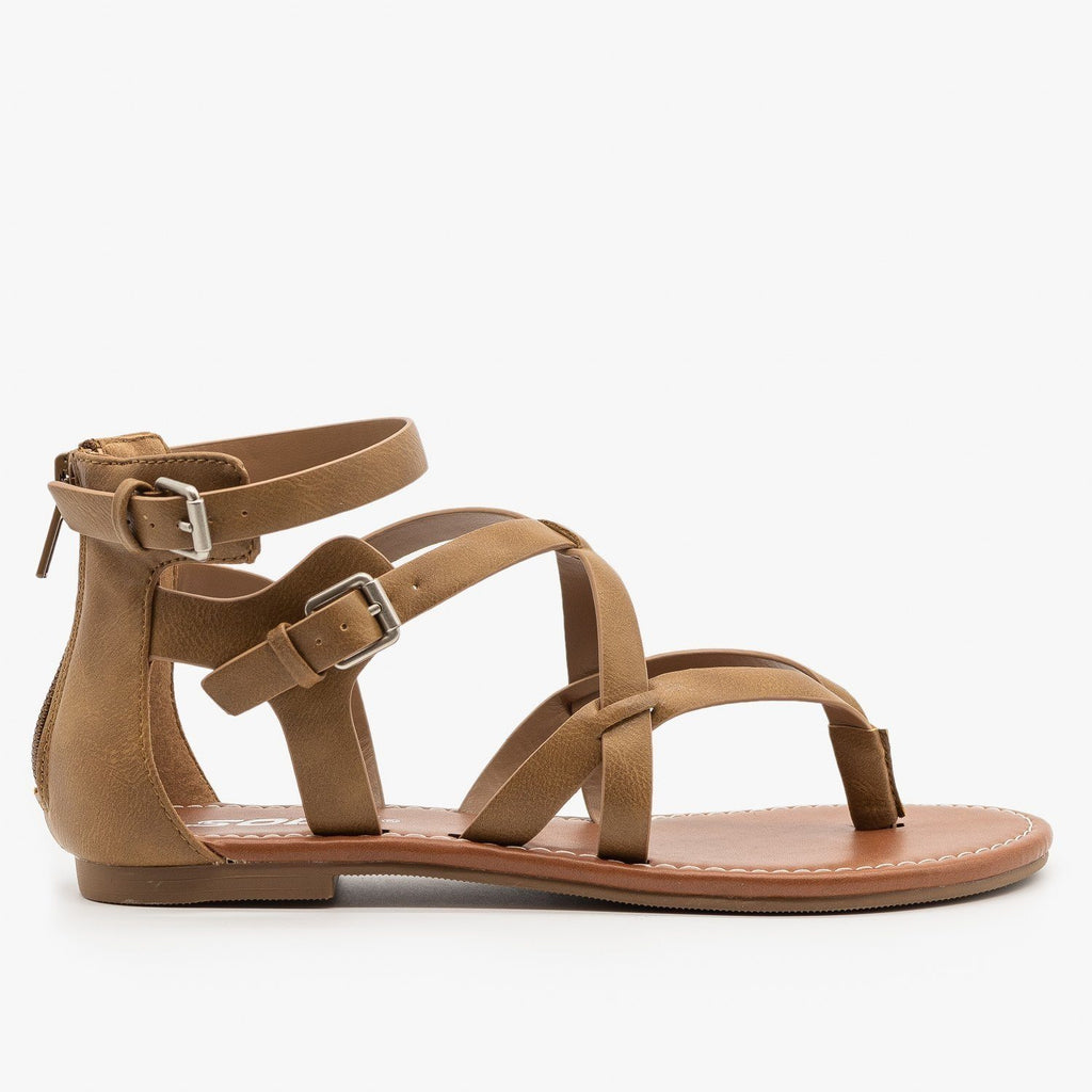 Womens Criss-Cross Strappy Sandals - Soda Shoes - Taupe / 5