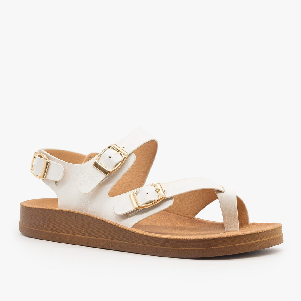 Womens Criss Cross Toe Hold Sandals - Forever - White / 5