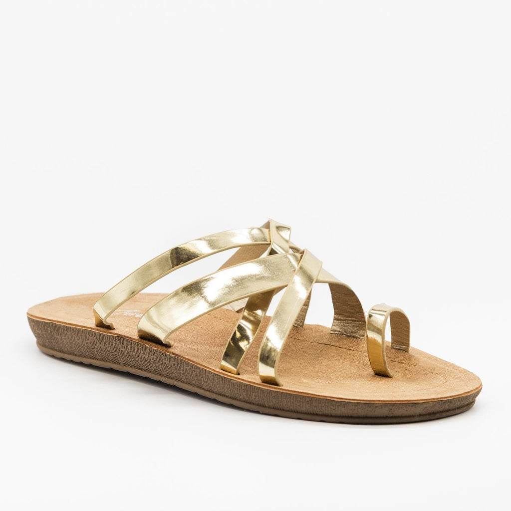 Womens Criss Cross Toe Hold Slip-On Sandals - Forever - Gold / 5