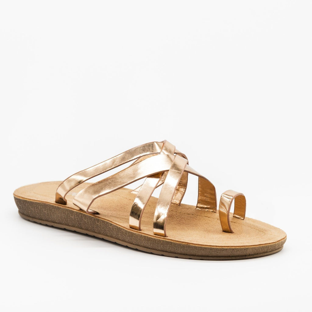 Womens Criss Cross Toe Hold Slip-On Sandals - Forever - Rose Gold / 5