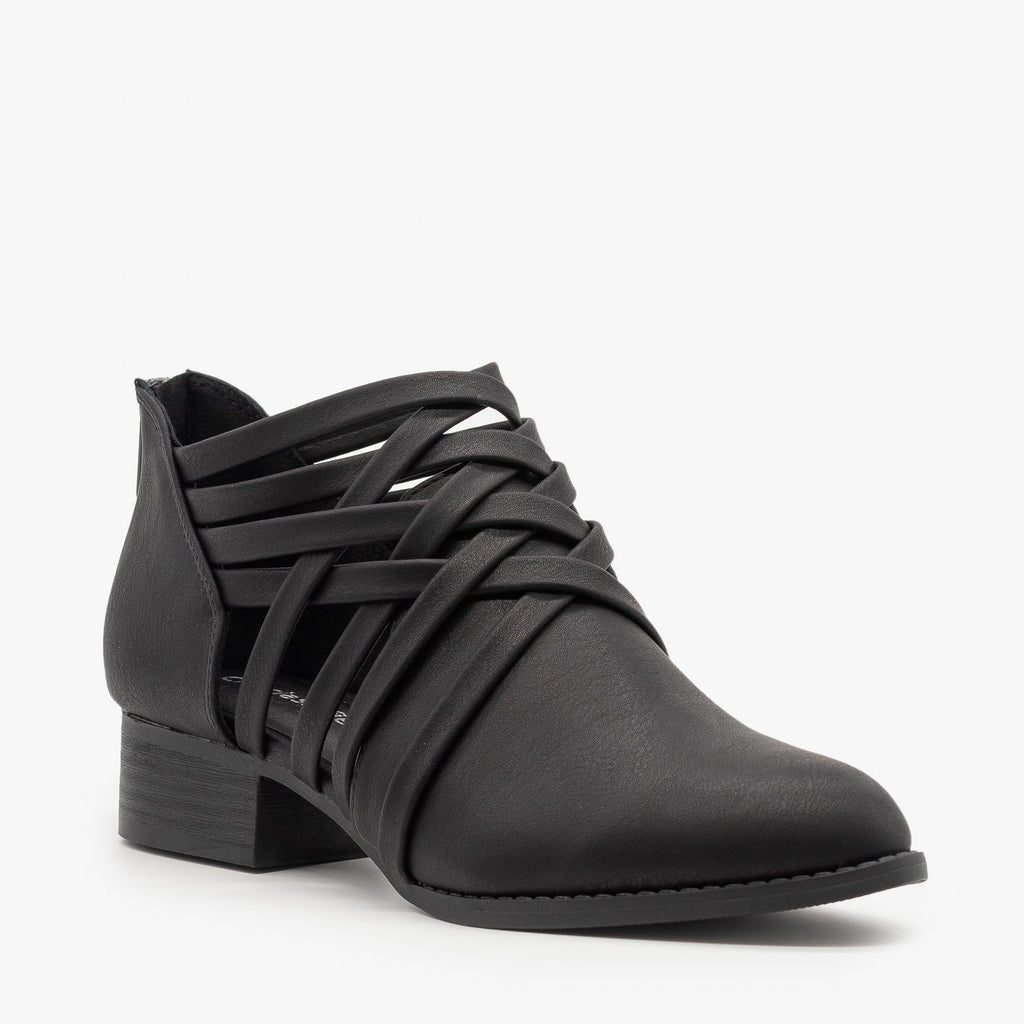 Womens Crisscross Ankle Heel Booties - City Classified Shoes