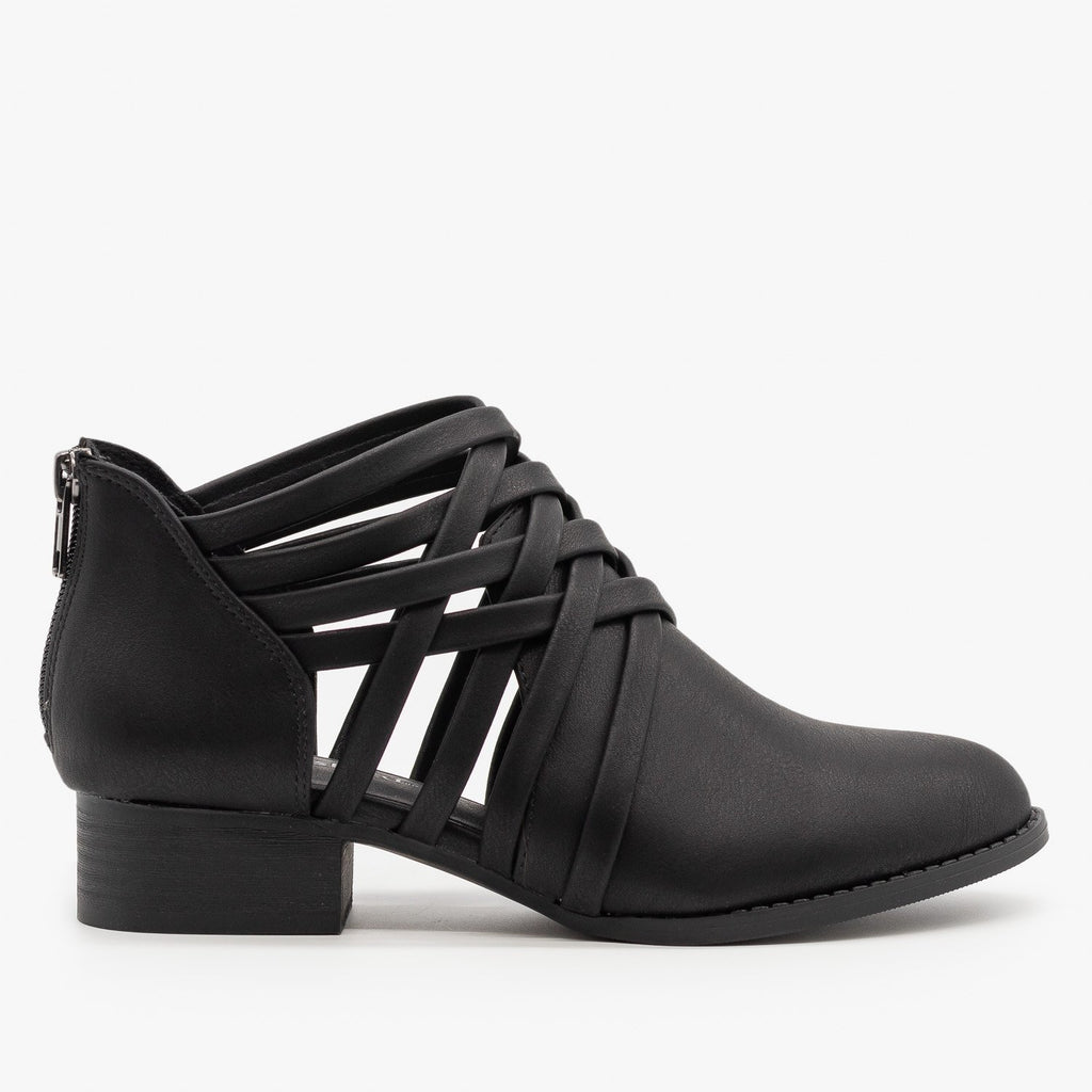 Womens Crisscross Ankle Heel Booties - City Classified Shoes - Black / 5