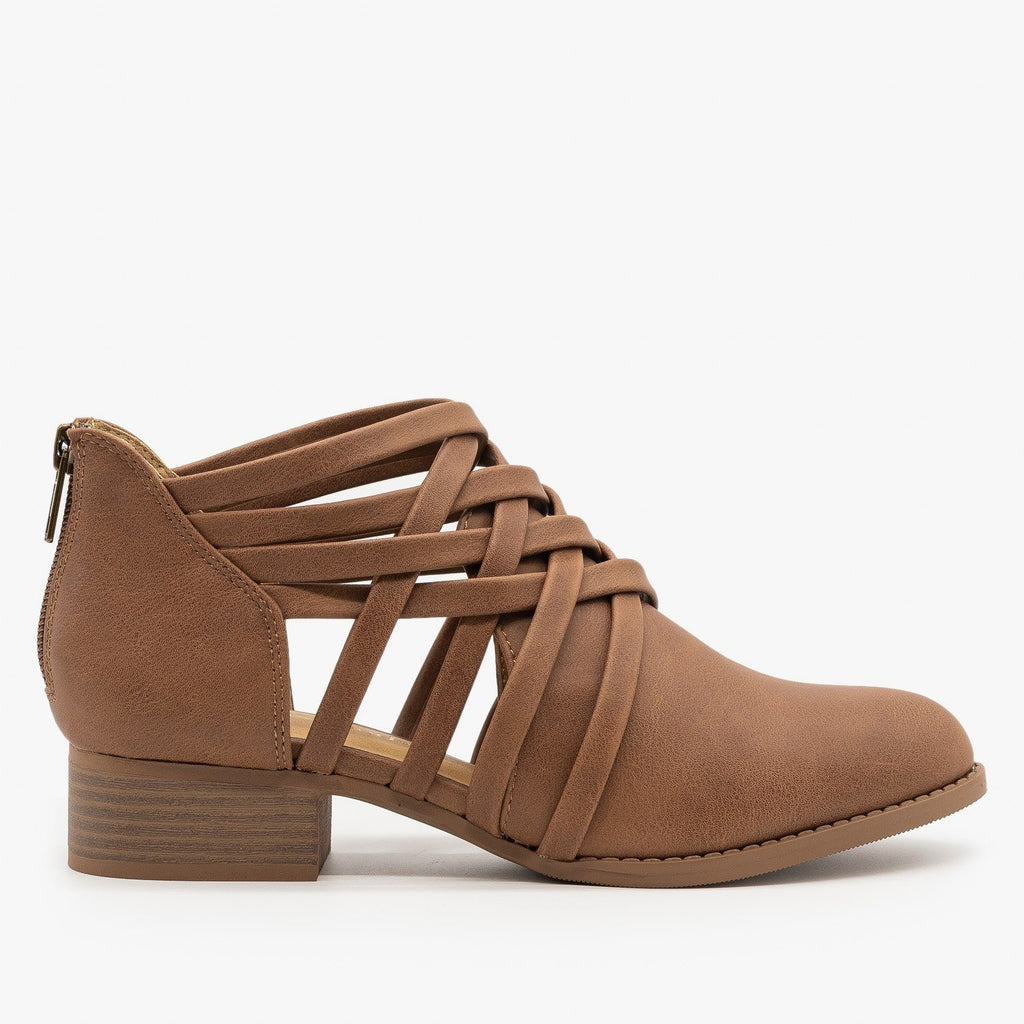 Womens Crisscross Ankle Heel Booties - City Classified Shoes - Tan / 5