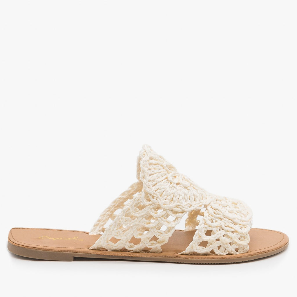 Women's Crocheted Summer Sandals - Qupid Shoes - Off White / 5