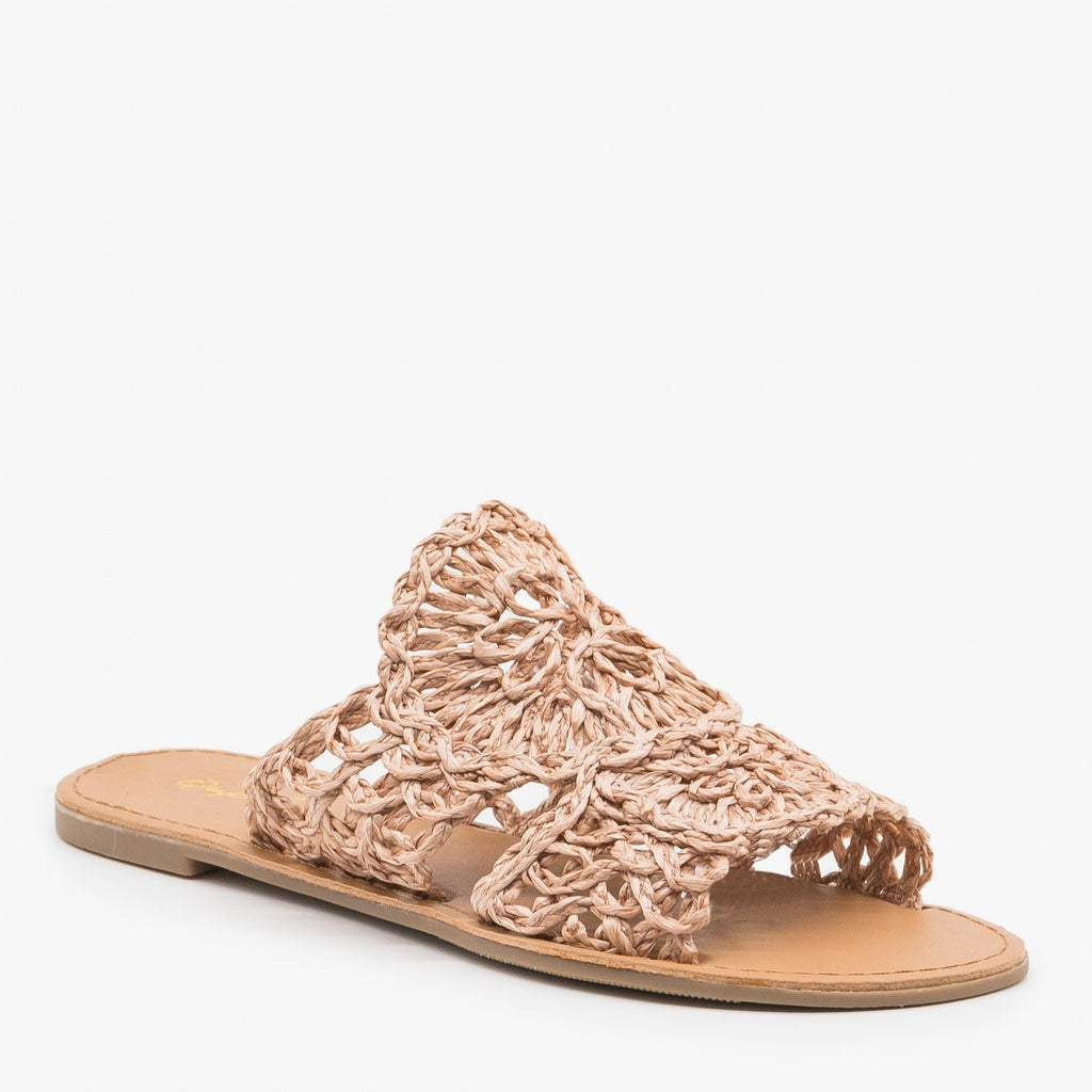 Women's Crocheted Summer Sandals - Qupid Shoes
