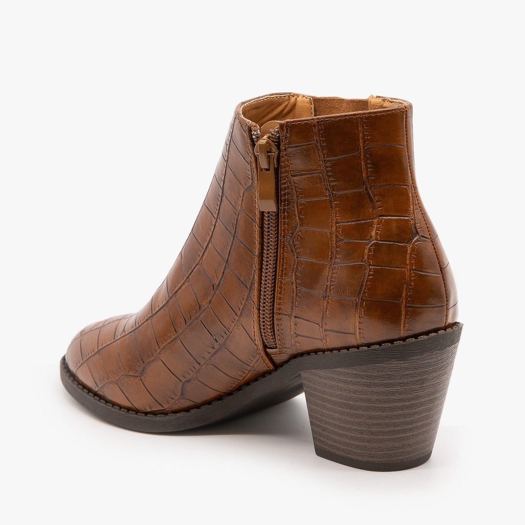 Womens Crocodile Lace Up Detail Booties - Mata