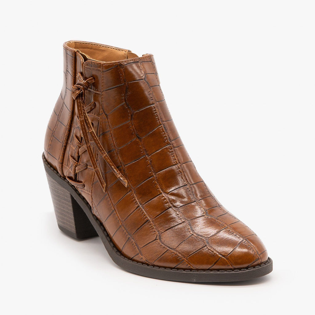 Womens Crocodile Lace Up Detail Booties - Mata - Tan / 5