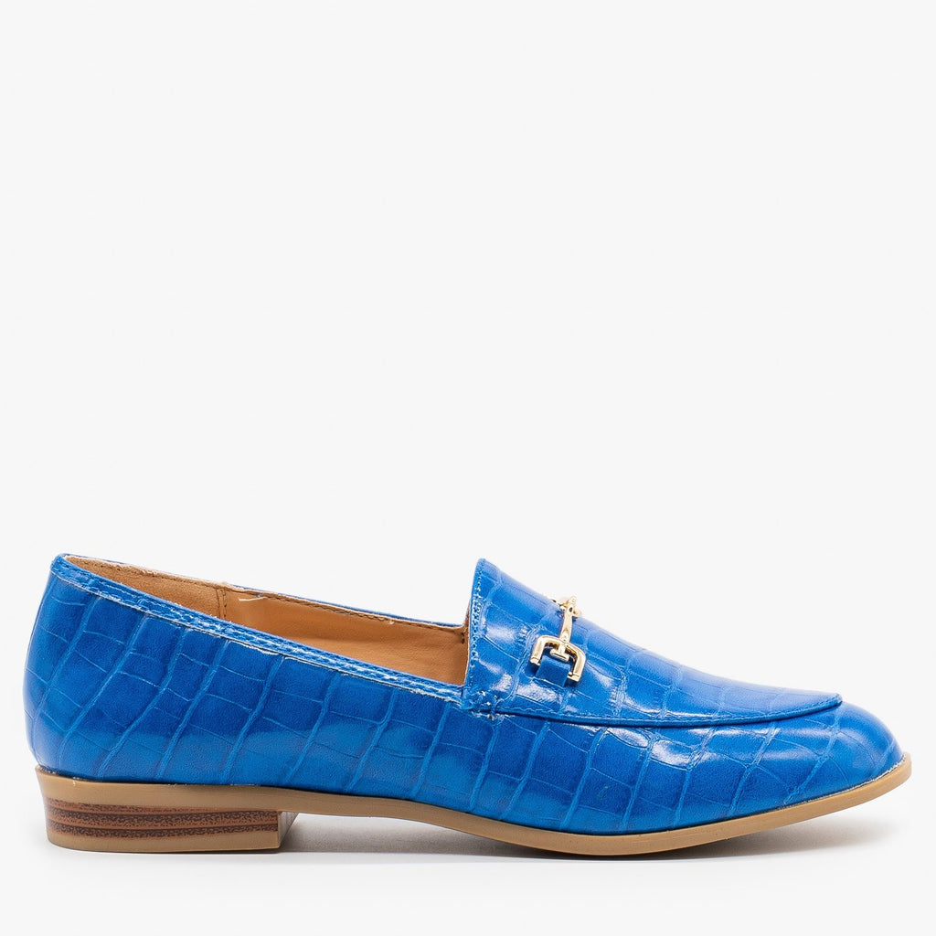 Womens Crocodile Low Heel Loafers - Mata - Blue Crocodile / 5