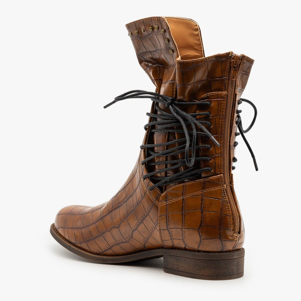 Womens Crocodile Side Laced Booties - Mata