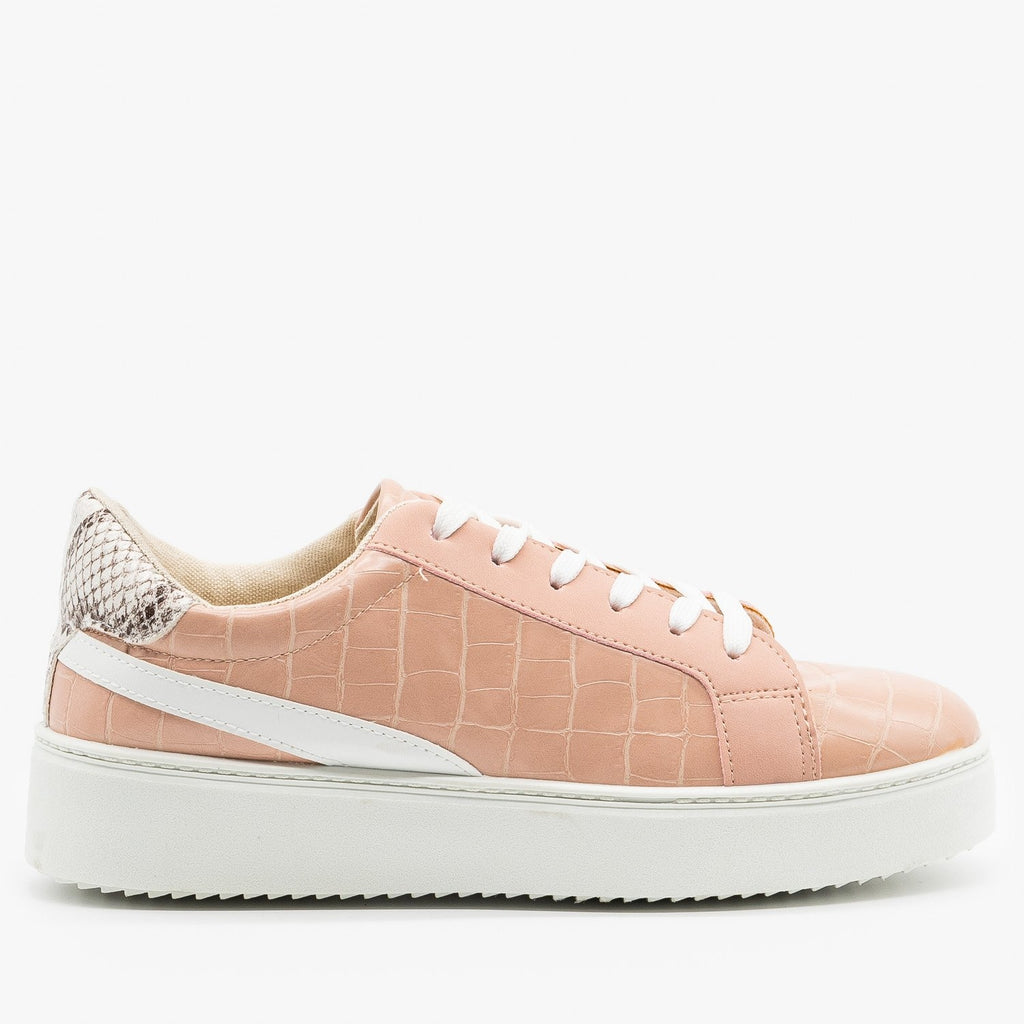 Womens Crocodile Snake Fashion Sneakers - Qupid Shoes - Nude / 5