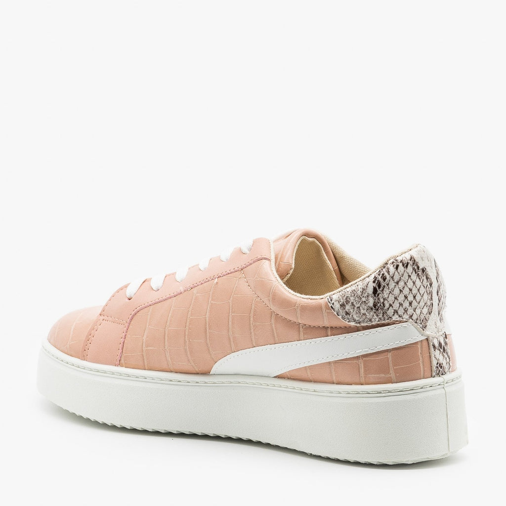Womens Crocodile Snake Fashion Sneakers - Qupid Shoes