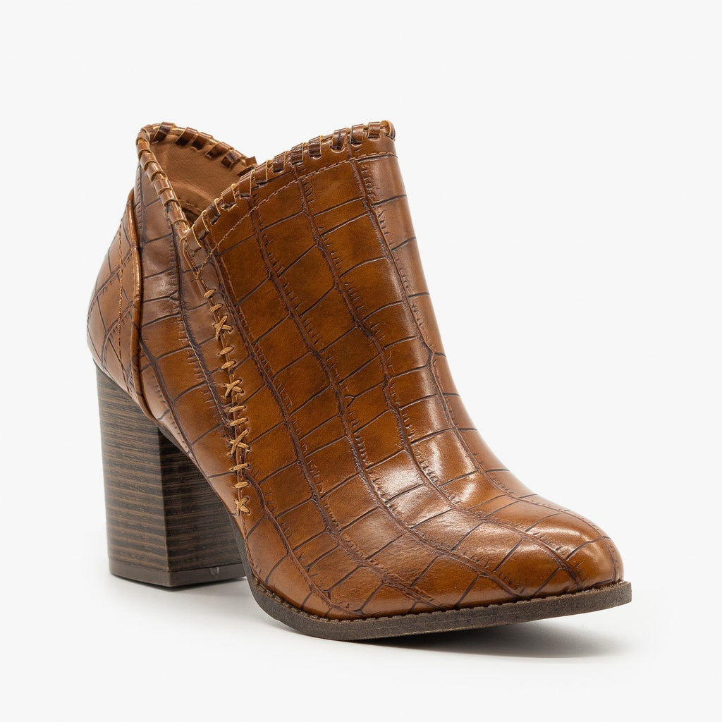 Womens Crocodile Stitched Accent Booties - Mata